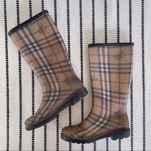 Burberry Haymarket Nova Check Rain Boots Size 38